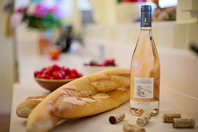 Pink Wine, Baguettes, French, France, Wine, Bread