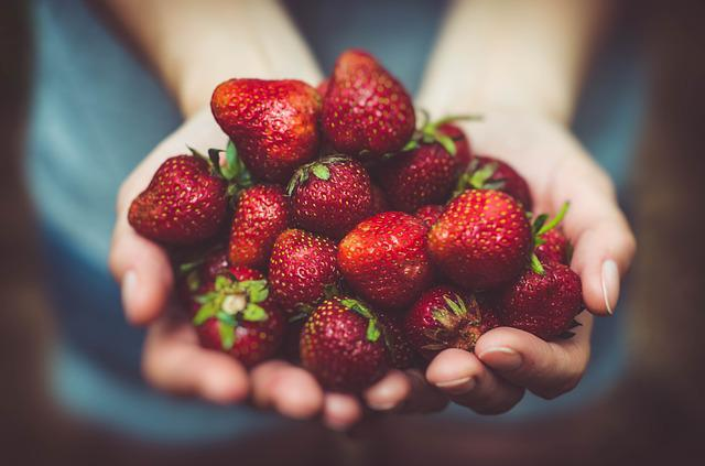 Strawberries, Fruits, Close-up, Food, Fresh, Hands