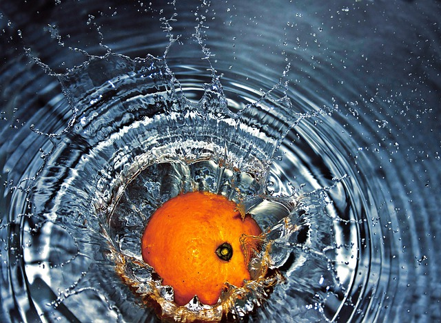 Orange, Falling, Water, Splash, Fresh, Fruit