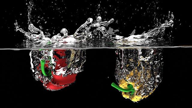 Bell Pepper, Vegetables, Splash, Fresh, Liquid, Water