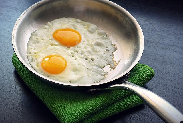 Eggs, Fried, Sunny Side Up, Skillet, Food, Breakfast