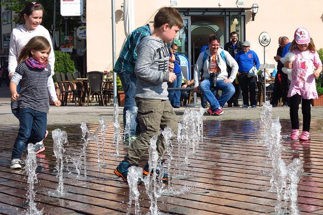 Children, Water Feature, Friedrichshafen, Germany