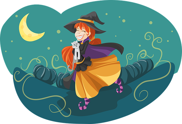 Witch, Cute, Friendly, Cat, Adorable, Friend, Moon