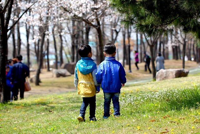Friends, Both, Children, Grass, Friendship