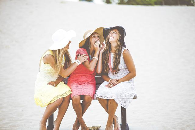 Bench, Fashion, Friendship, Fun, Girls, Happiness