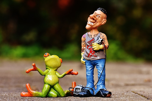 Tattoo Artist, Frog, Customer, Figures, Funny, Man