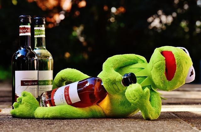 Kermit, Frog, Wine, Drink, Alcohol, Drunk, Rest, Sit