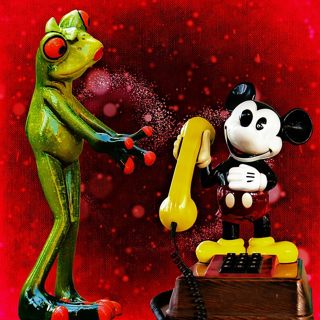 Frog, Mickey Mouse, Phone, Communication, Call