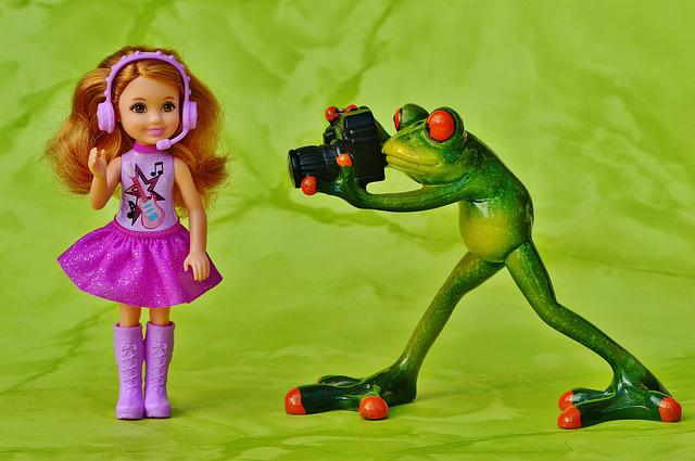 Photographer, Frog, Girl, Barbie, Star, Sing, Singer