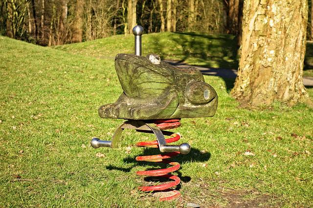 Frog, Wooden Frog, Spring Rider, Play Equipment, Spring