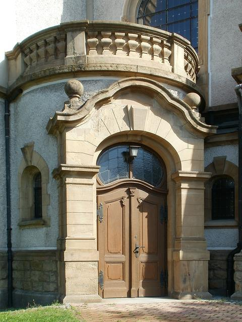 Church, Protestant, Hockenheim, Entrance, Door, Front