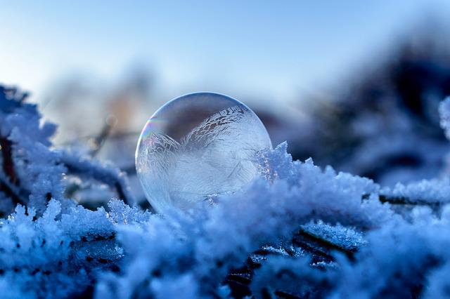 Soap Bubble, Frozen, Frozen Bubble, Winter, Landscape