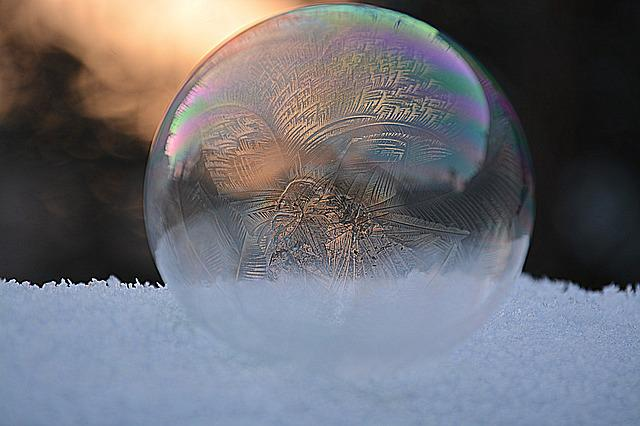 Soap Bubble, Frozen Bubble, Winter, Snow
