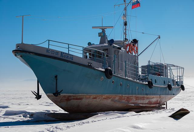 Lake Baikal, Frozen Lake, Ice, Ship