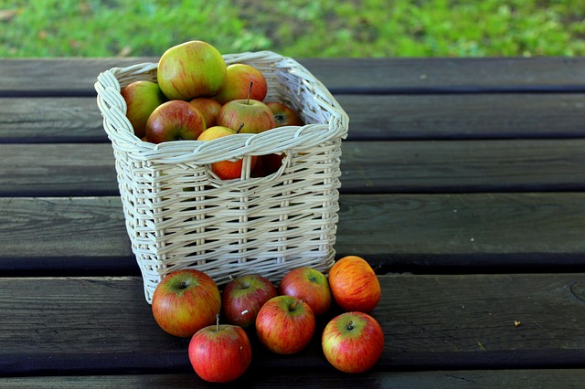 Basket, Fruit, Basket With Apples, Autumn