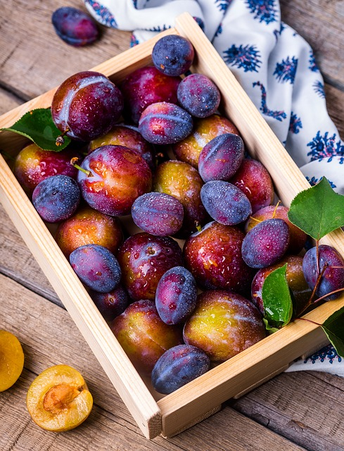 Plums, Box, Apricots, Fruits, Fruit Box, Fresh, Ripe