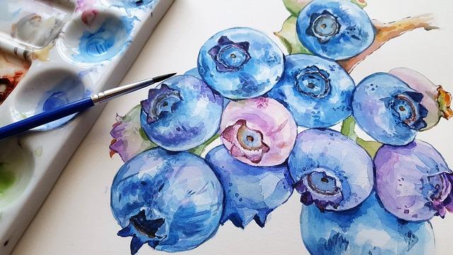 Blueberries, Fruit, Blue, Art, Painting, Brush