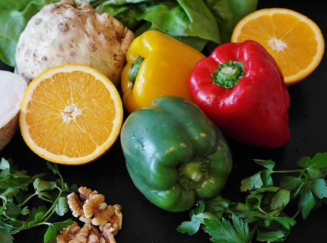 Paprika, Salad, Celery, Nuts, Food, Fruit, Healthy
