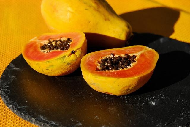 Papaya, Fruit, Cut In Half, Cut, Vitamins, Eat
