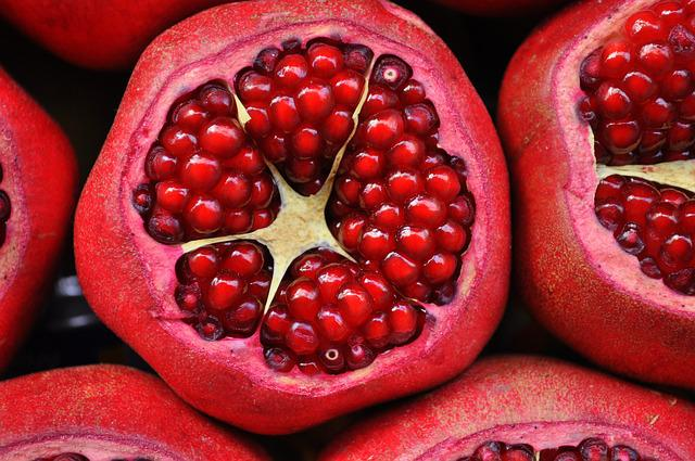 Pomegranate, Fruit, Exotic Fruit, Cut Fruit