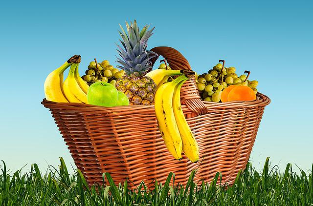 Fruit Basket, Fruits, Fruit, Eat, Food, Pineapple