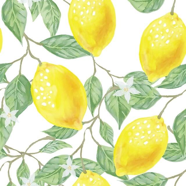Leaf, Green, Yellow, Lemon, Fruit, Watercolor, Pattern