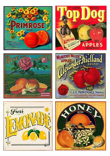 Labels, Vintage, Fruit, Products, Collage, Scrapbooking