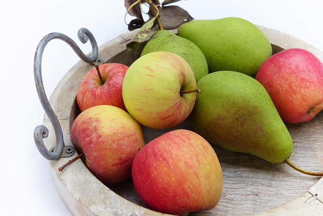 Apple, Pear, Tray, Wood, Fruits, Fruit, Nature