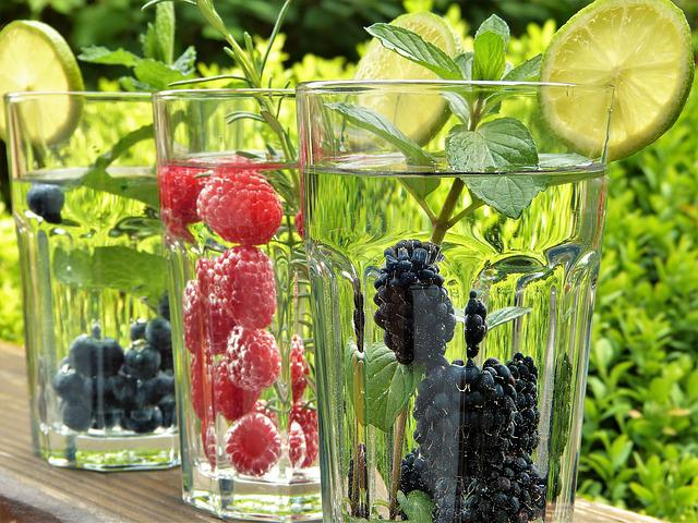 Water, Fruits, Fruit, Straws, Glasses, Garden, Out