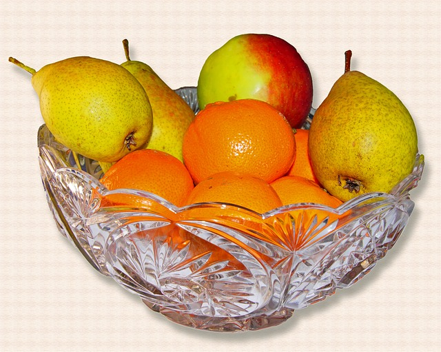 Fruit Bowl, Apple, Pear, Mandarin, Glass Bowl, Fruit