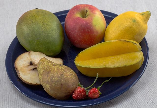 Fruit, Fruit Plate, Lemon, Apple, Pear, Star Fruit