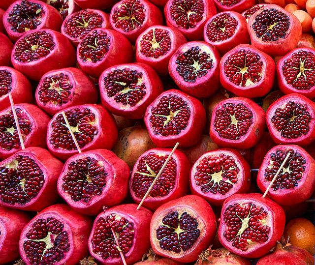 Pomegranate, Pomegranates, Fruit, Fruits, Red, Grains