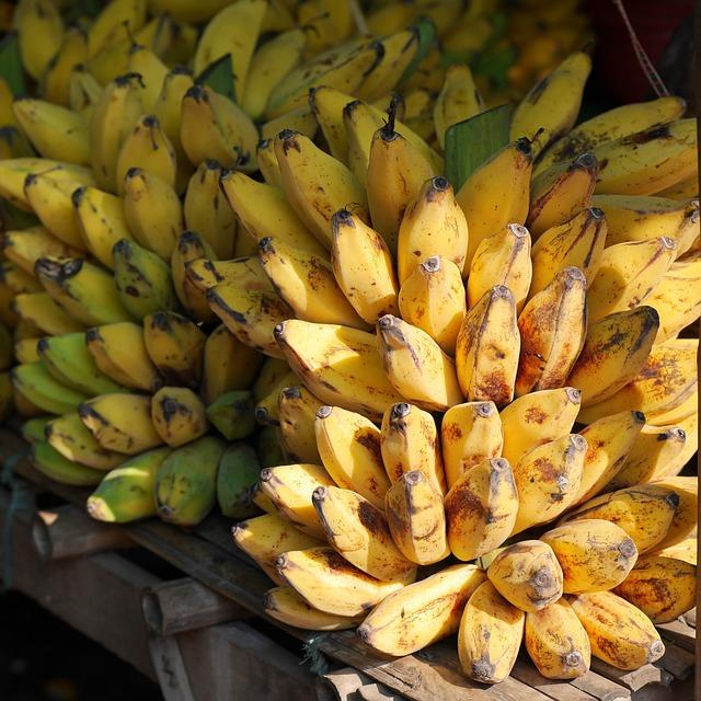 Bananas, Banana Shrub, Fruits, Yellow, Food, Burma