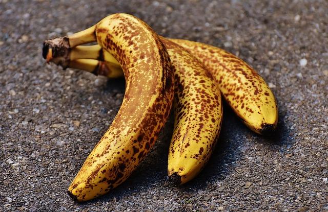 Bananas, Fruits, Fruit, Healthy, Yellow, Brown Spots