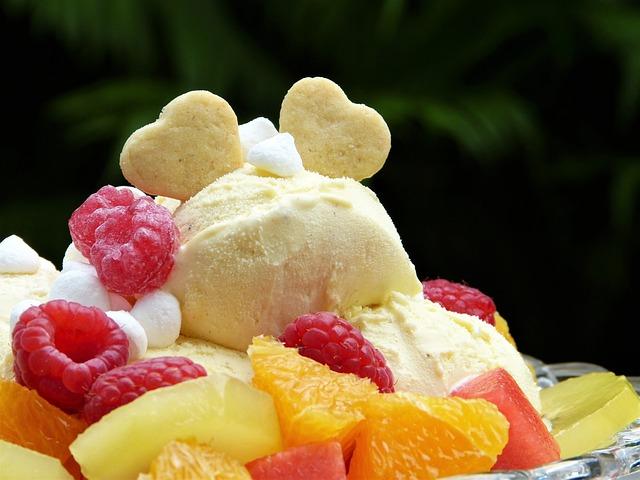 Ice, Ice Cream, Ice Cream Sundae, Fruits, Fruit