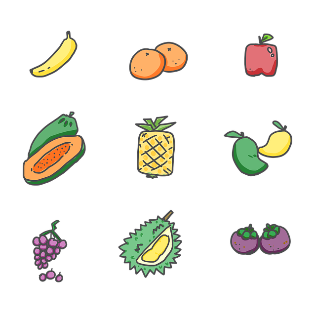 Fruits, Banana, Orange, Apple, Papaya, Pineapple, Mango