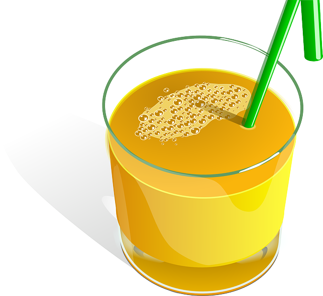 Juice, Orange, Fruits, Straw, Green, Glass, Drink