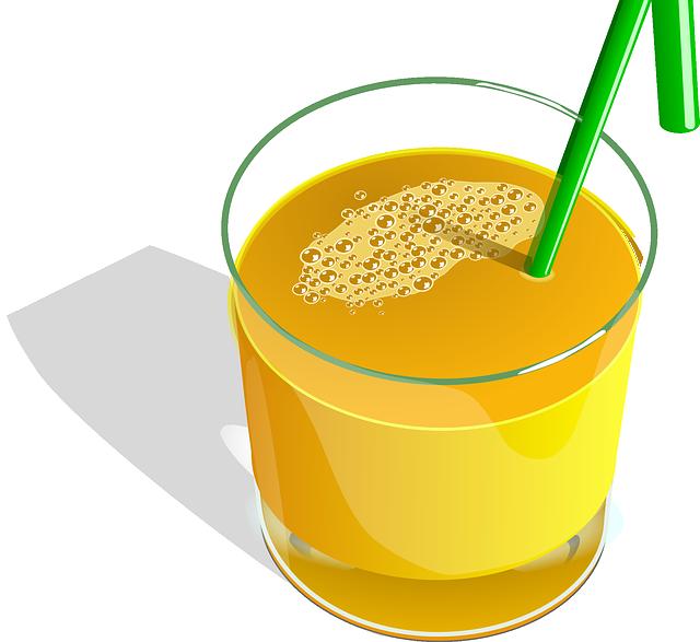 Juice, Orange, Fruits, Straw, Green, Glass, Drink