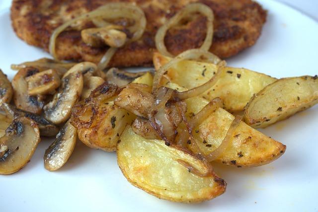Schnitzel, Potatoes, Onion, Cook, Fry, Fried Potatoes