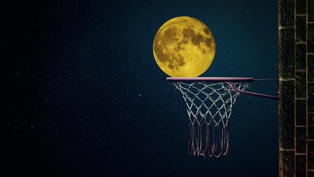 Moon, Moonlight, Night, Full Moon, Basketball, Ball