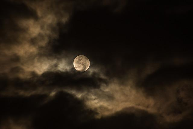 Cloudy, Dark, Full Moon, Luna, Moon, Night, Sky