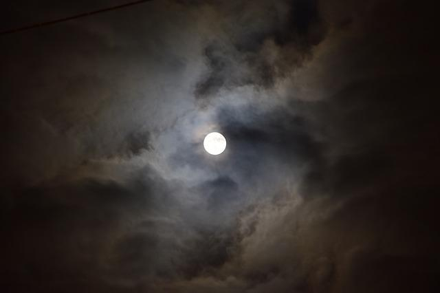 Moon, Full Moon, Midnight, Clouds, Dark, Night