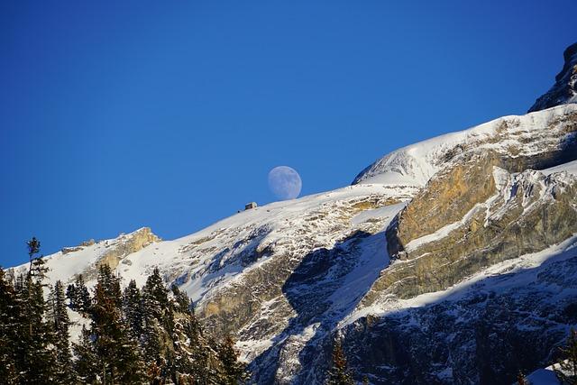 Blüemlisalphut, Moon, Full Moon, Mountains, Landscape