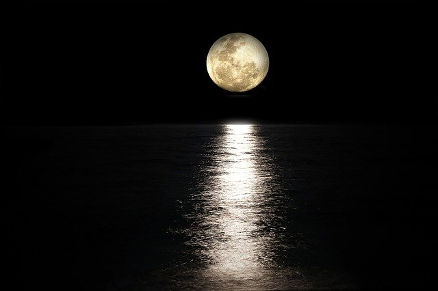 Moon, Sea, Full Moon, Light Reflections, Moonlight