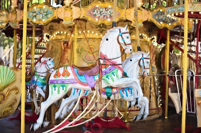 Carousel Horses, Carousel, Horse, Ride, Fun, Amusement