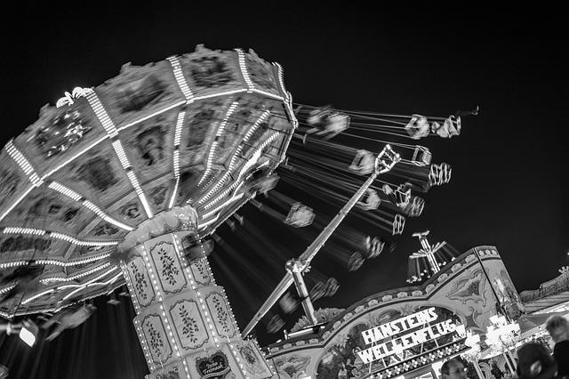 Black White, Funfair, Funfair Carousel, Night