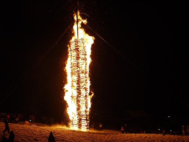 Funkensonntag, Custom, Montafon, Fire, Brand, Snow