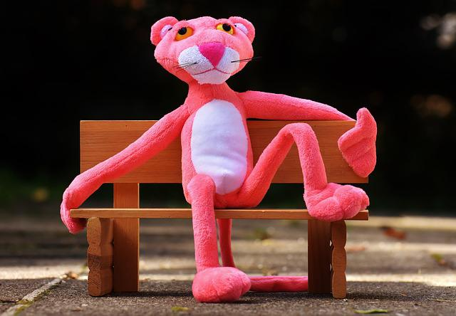 Pink Panther, Bank, Rest, Sit, Fig, Funny, Animal