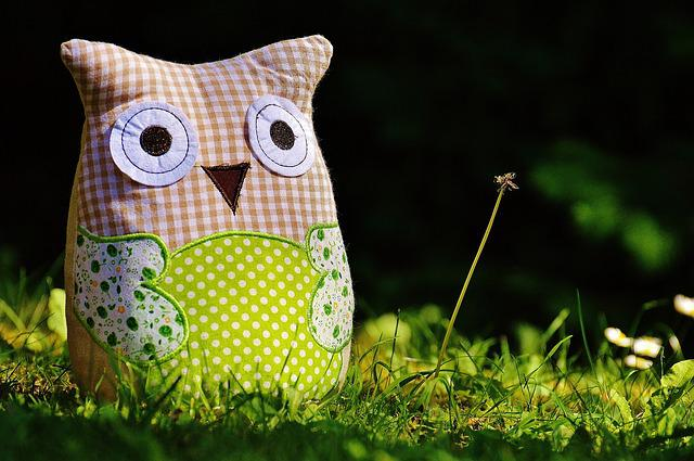 Owl, Fabric, Funny, Patchwork, Green