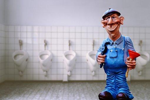 Plumber, Pömpel, Figure, Sanitary, Cute, Funny, Loo